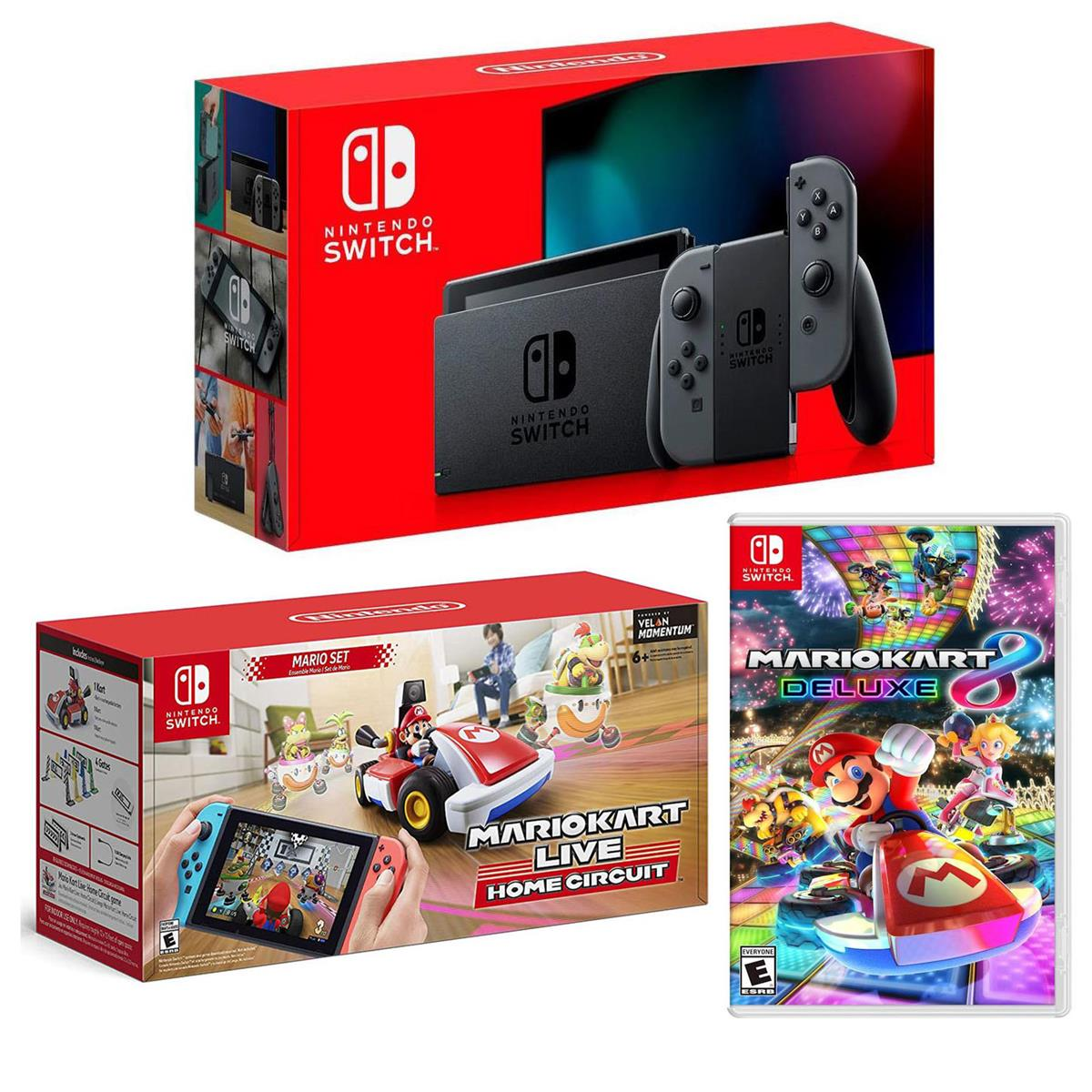 Nintendo 32GB Nintendo Switch with Gray Joy-Con Controllers - Bundle With Nintendo Mario Kart Live: Home Circuit, Mario Set Set for Nintendo Switch, Mario Kart 8 Deluxe for Nintendo Switch