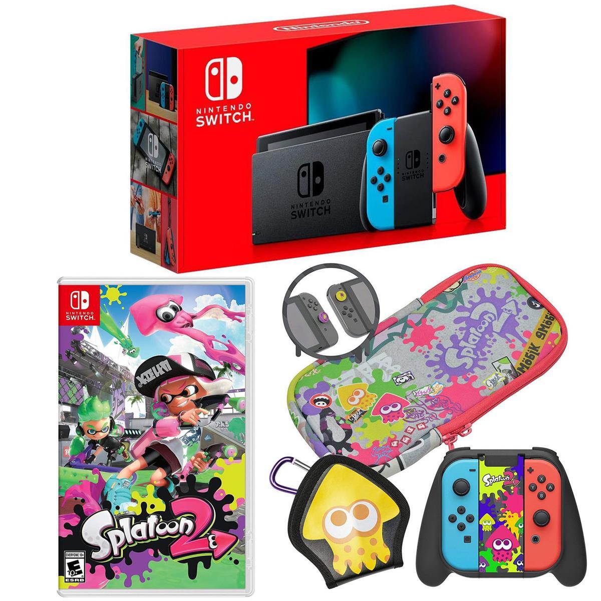 Nintendo 32GB Nintendo Switch with Neon Blue & Neon Red Joy-Con Controllers - Bundle With Nintendo Splatoon 2 for Nintendo Switch, Hori Splatoon 2 Deluxe Splat Pack for Nintendo Switch