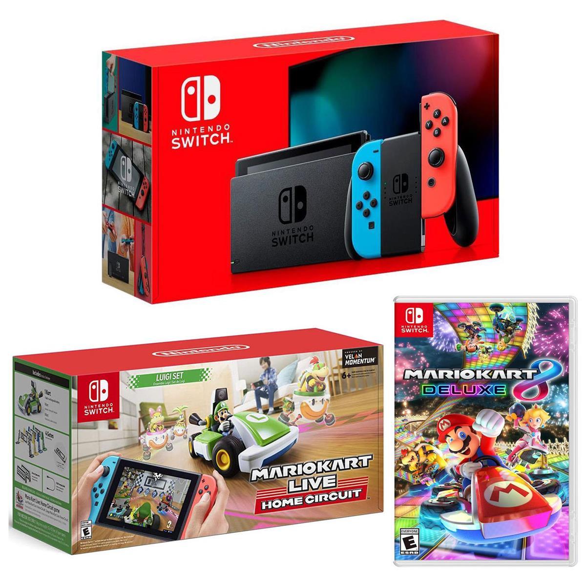 Nintendo 32GB Nintendo Switch with Neon Blue & Neon Red Joy-Con Controllers - Bundle With Nintendo Mario Kart Live: Home Circuit Luigi Set for Nintendo Switch, Mario Kart 8 Deluxe for Nintendo Switch